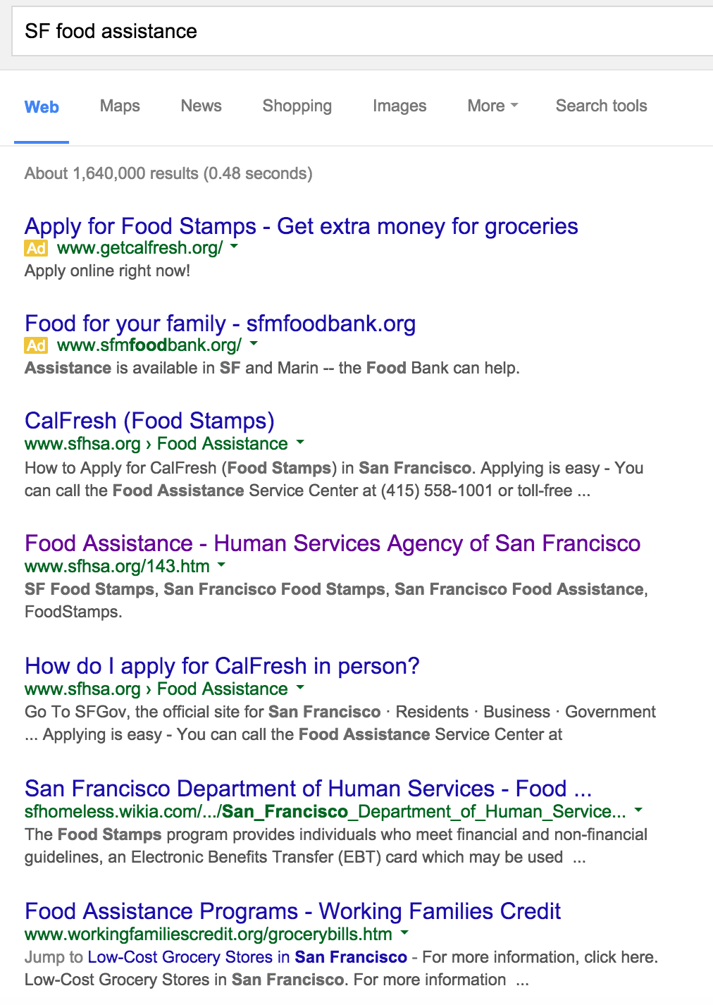 Search Results From Google